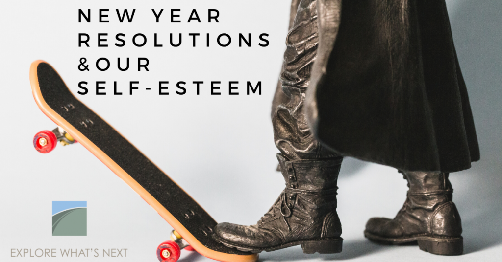 picture of a skateboarder wearing boots and a overcoat with a grapic that says New Year Resolutions & Our Self-Esteem