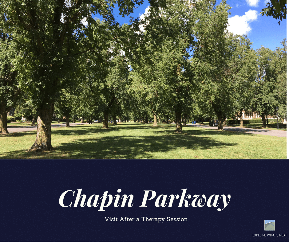 """Picture of Chapin Parkway that says """"5 Parks to Visit After a Therapy Session"""""""